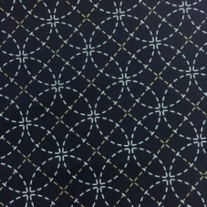 Stencilled Sashiko Fabric - Seven Treasures  - Blue