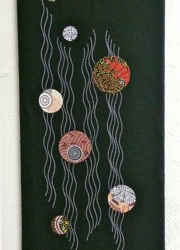 threaded pathways 2 sashiko panel