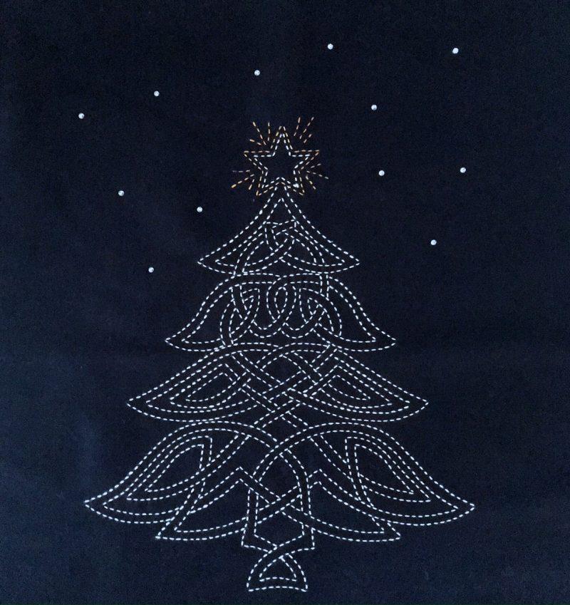 indigo celtic christmas tree sashiko panel