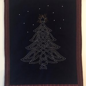 sashiko celtic christmas tree panel