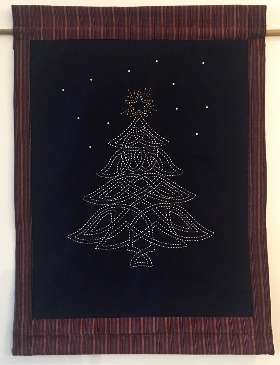 sashiko celtic christmas tree panel