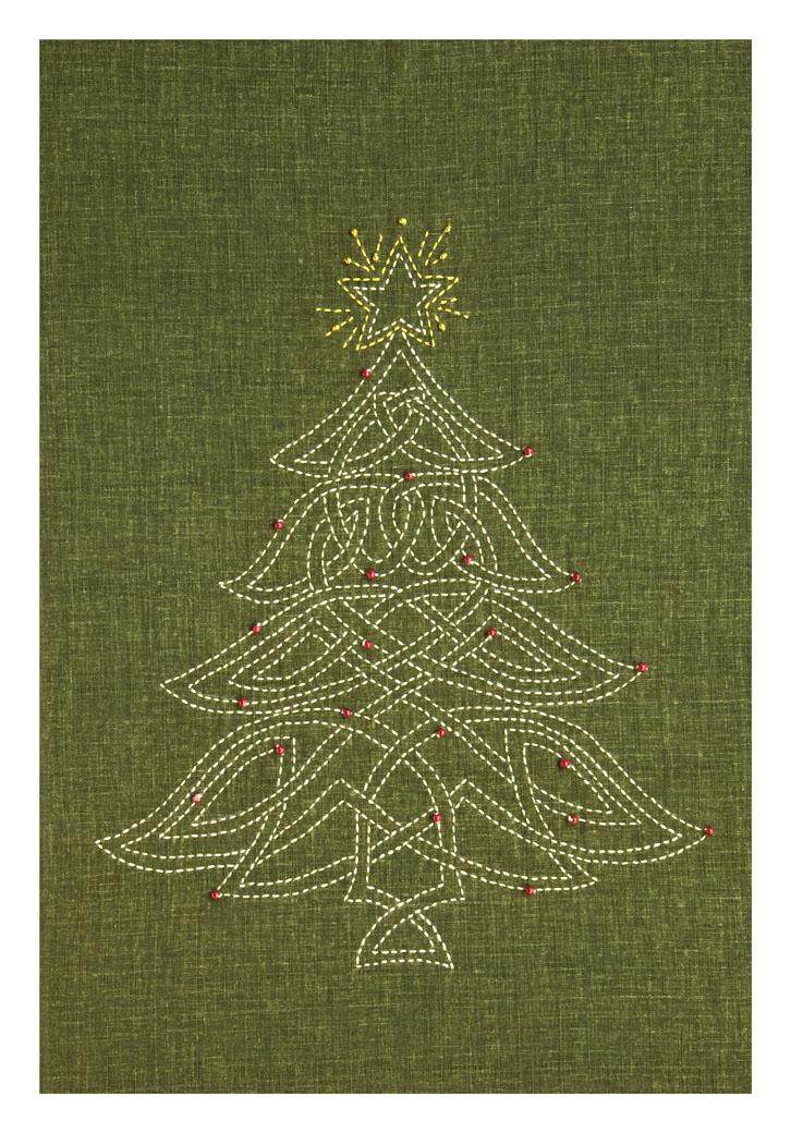 green celtic christmas tree sashiko panel