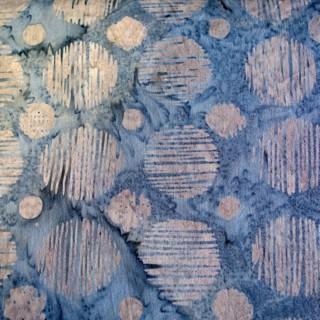 blue batik fabric with white spots