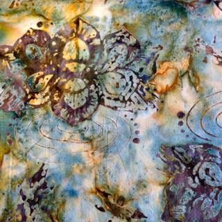 aqua floral batik cotton fabric