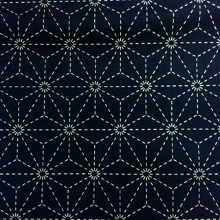 Stencilled Sashiko Fabric - Hemp  - Indigo Blue