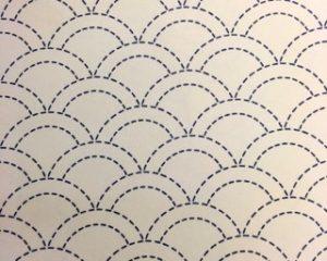 Seigaiha Pre-Stencilled Fabric - Ecru