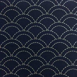 Seigaiha Pre-Stencilled Fabric - Blue