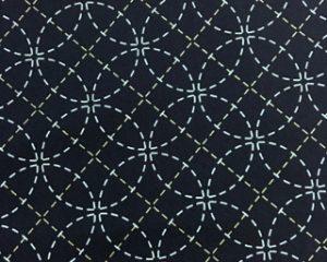Stencilled Sashiko Fabric - Seven Treasures  - Blue