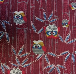 Japanese Owl Fabric Red