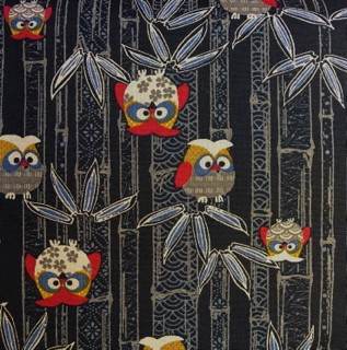 Japanese Owl Fabric Charcoal