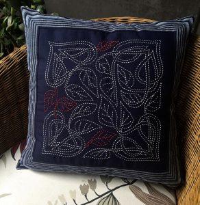 celtic leaves sashiko cushion