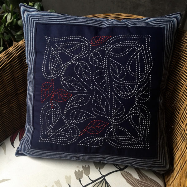 celtic leaves sashiko cushion