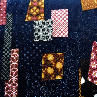 Japanese Collage Fabric Blue