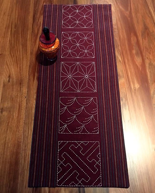 traditional designs sashiko table runner cherry red
