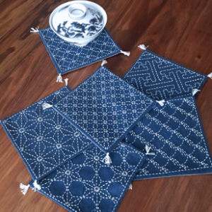 Sashiko Runner  -  Coaster Set No 1