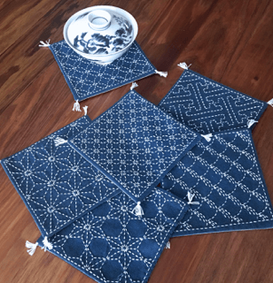 Sashiko Runner -  Coaster Set No 2