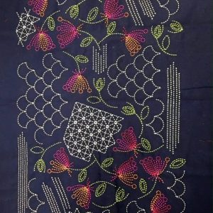 sashiko panel with shell pattern