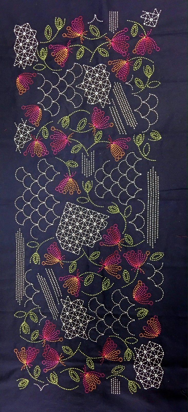 sashiko panel with shell pattern