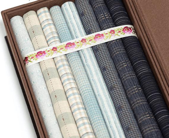 blue yarn dyed fabric gift box