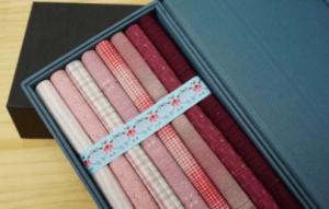 pink yarn dyed fabric gift box