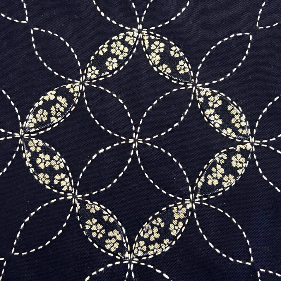 applique on sashiko stitching