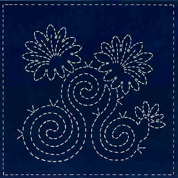 early morning blooms sashiko panel