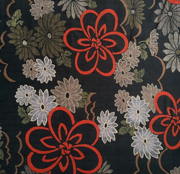 grey green floral dobby weave fabric