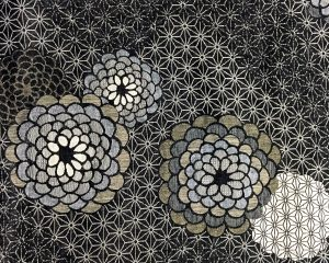 floral black double woven fabric