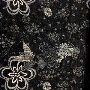 white and black floral double woven fabric