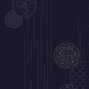 indigo sashiko panel wth temari ball design