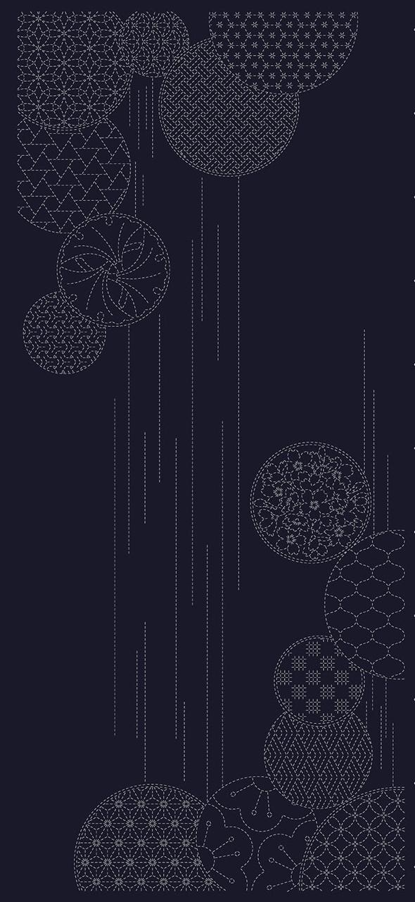 indigo sashiko panel wth temari ball design