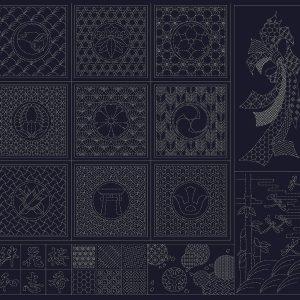 pre printed sashiko panel