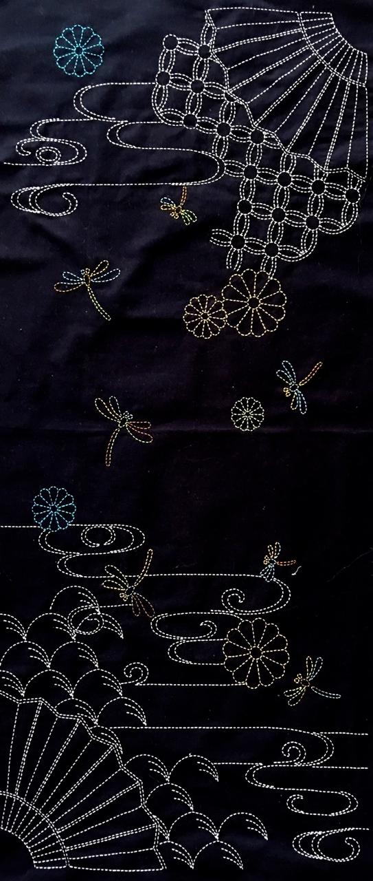 sashiko panel with nowaki grasses motif