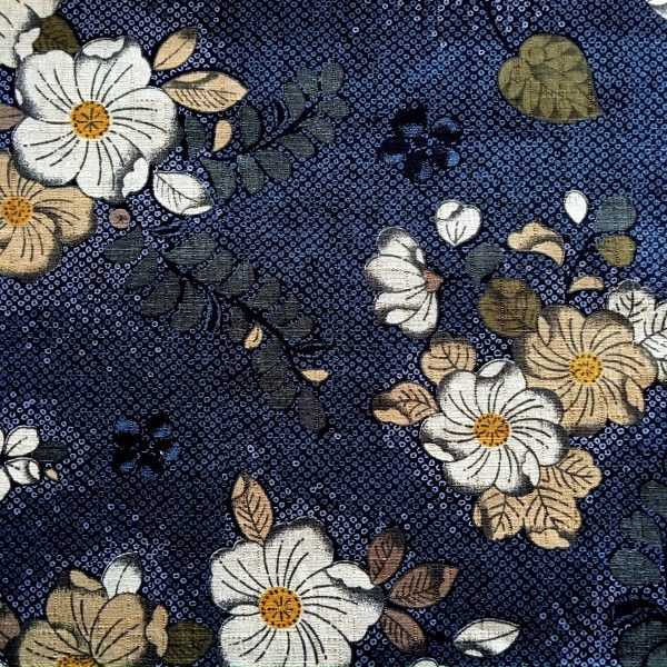 floral dobby weave fabric blue