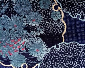 blue floral dobby weave fabric