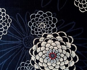 blue chrysanthemum dobby weave fabric