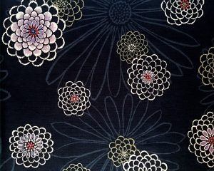 black chrysanthemum dobby weave fabric