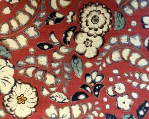 rust floral dobby weave fabric