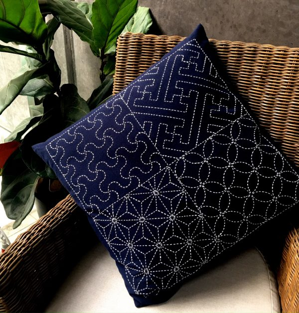 sashiko cushion with four designs