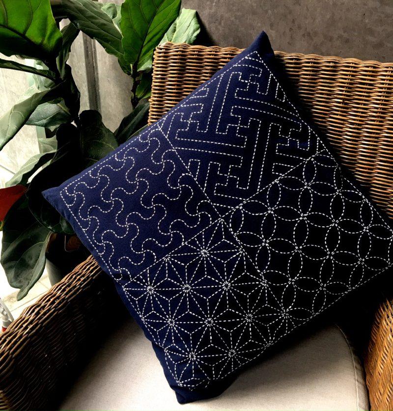 sashiko cushion with four designs