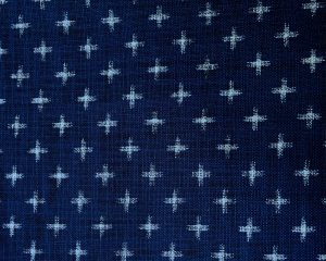 japanese indigo fabric with printed crosses