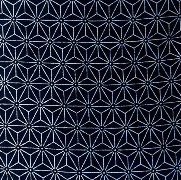indigo fabric with asanoha design