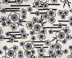 japanese cotton fabric with black cherry blossom print