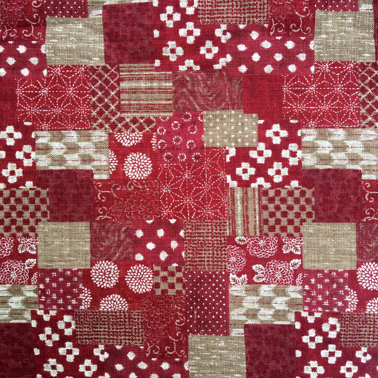 red patchwork japanese poplin fabric