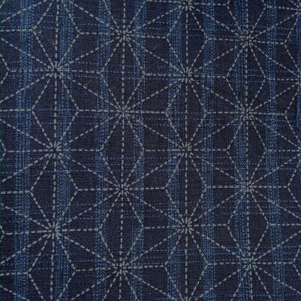 mid blue asanoha japanese fabric