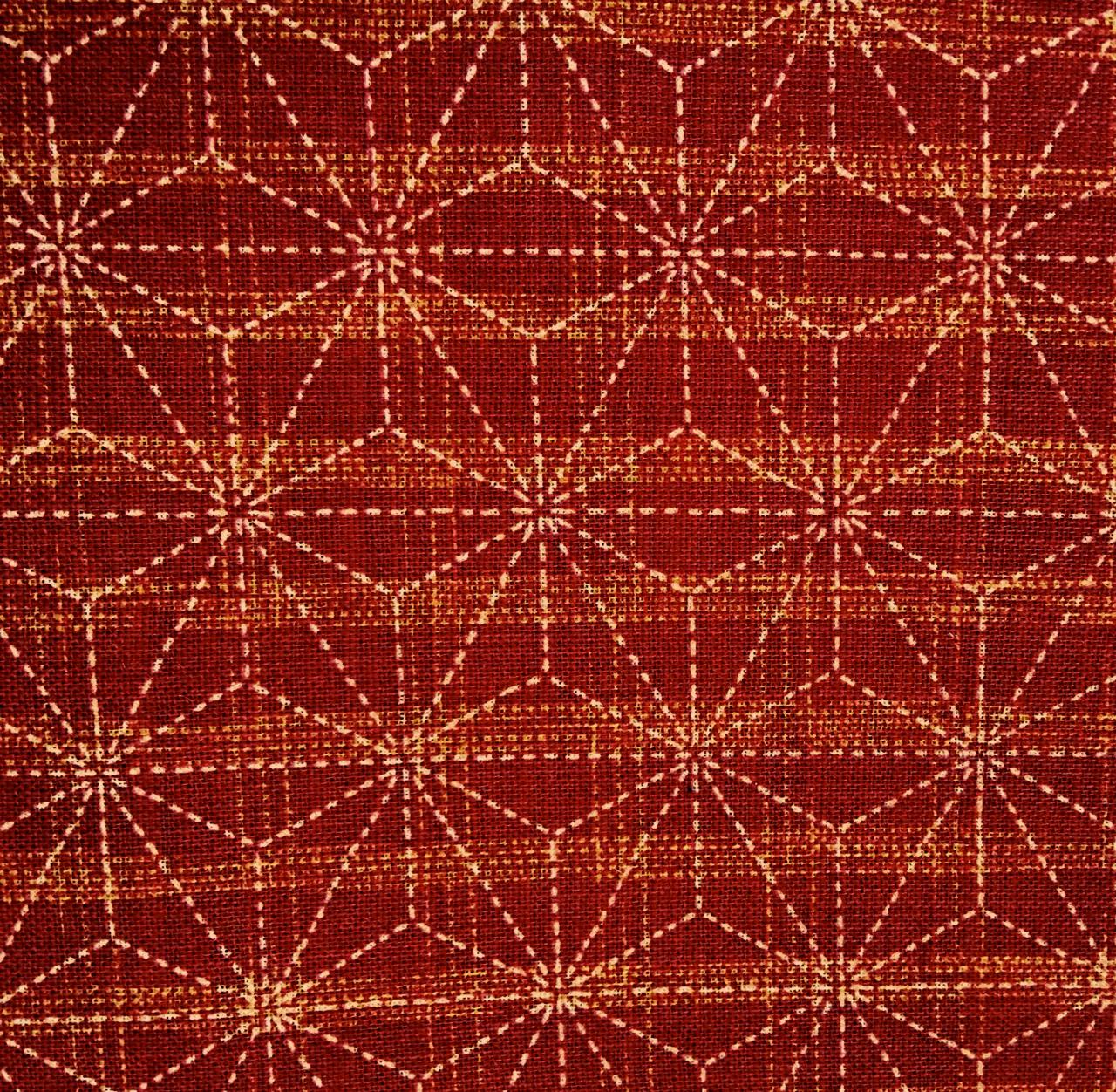 cherry red asanoha japanese fabric