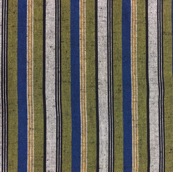 blue green striped woven cotton fabric