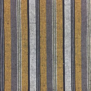 mustard grey striped woven cotton fabric