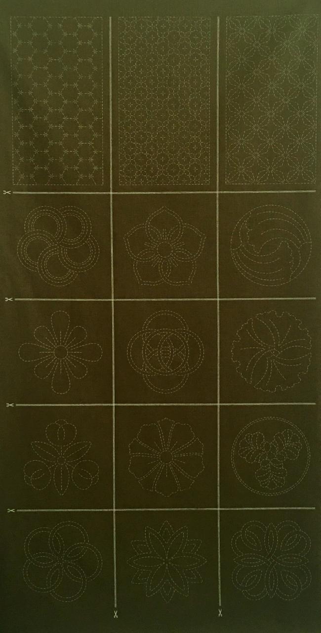 sashiko treasures panel 1 moss green