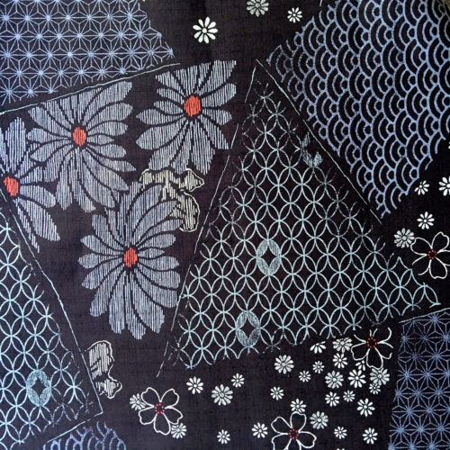 blue dobby weave fabric floral
